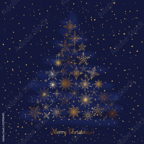 Set Of Hand Drawn Sketchy Golden Christmas Snowflakes And Stars