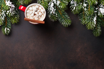 Christmas fir tree, hot chocolate and marshmallow