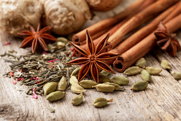 ingredients for tea with spices