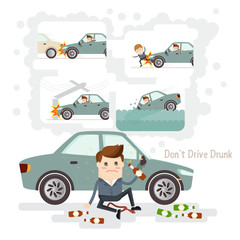 businessman very drunk and should not drive. car accident from driving while intoxicated..