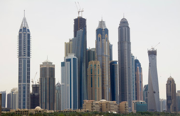 Commercial buildings in downtown Dubai, UAE