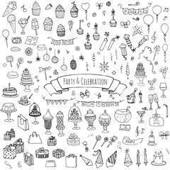 Hand drawn doodle Party and Celebration icons set Vector illustration Sketch Party concept Happy Birthday Party elements Carnival festive icons Gifts, Hat, Cake, Bow, Drink, Firework, Sweets, Flags