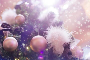 Glamorous Christmas tree. Pink balls