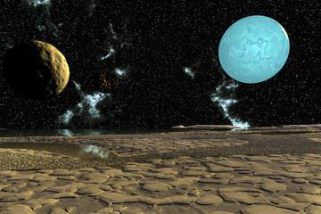 Fantasy alien planet. Moon. 3D rendering