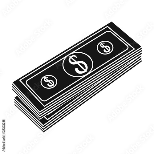 quotstack of money icon in black style isolated on white