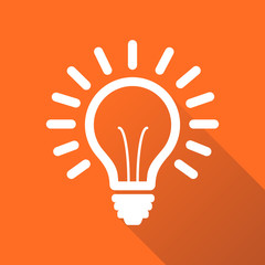 Light bulb line icon vector, isolated on orange background with long shadow. Idea sign, solution, thinking concept. Lighting Electric lamp illustration in flat style for graphic design, web site.