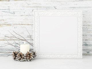 Square interior mock up with candle and pine cones on empty wooden wall background. 3D rendering.