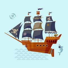 Pirate Ship. Nautical Collection.
