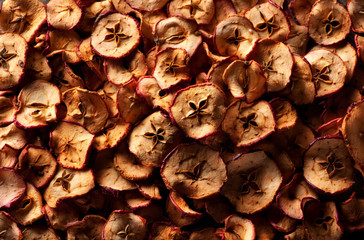 Dried apples, food background