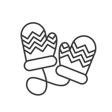Winter mittens linear icon
