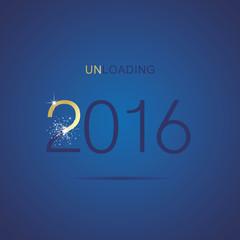 The End 2016 unloading firework gold blue vector