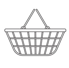 Shopping basket icon, modern line, sketch, doodle style. Metal basket, mesh shopping in a supermarket isolated on white background. Shopping bag. Vector illustration
