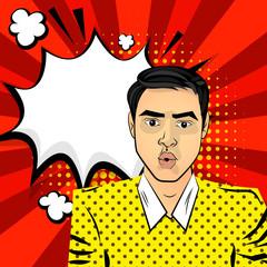 Attractive brunette surprised man brown eyes. Comic bubble pop art text background