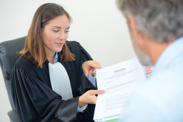 Female lawyer in meeting with male client