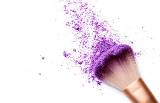 shadows and makeup brush isolated