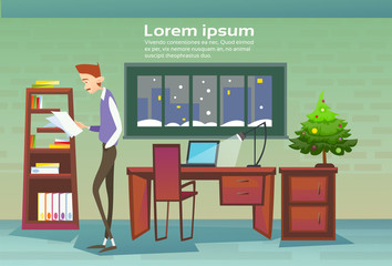 Business Man Workplace Decorated Pine Office Merry Christmas And Happy New Year Flat Vector Illustration