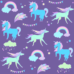 Blue unicorn on purple background with flags and fireworks.