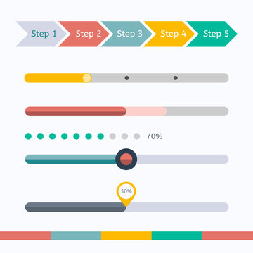 Flat web design progress bars set. Vector illustration