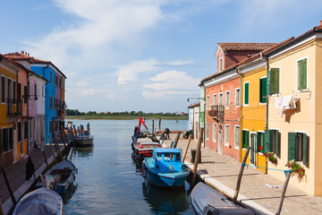Colourfully painted houses on Burano, Venice, Italy.