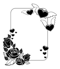Black and white silhouette frame with roses and flying heart.
