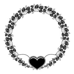 Black and white round silhouette frame with roses and flying heart.