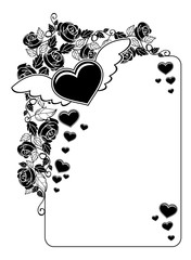 Black and white silhouette frame with roses and flying heart. Copy space.