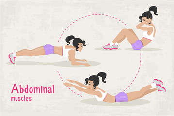 Vector Set of fitness abdominal muscles workout exercises for woman,