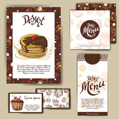 Template with hand drawn sketch bakery. Can be used as corporate identity style for cafe or restaurant. Vector illustration. Dessert cards with sweet bakery.