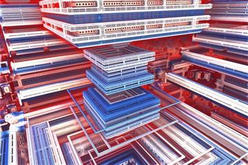 Red, white and blue fractal shelves