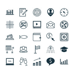 Set Of 25 Universal Editable Icons. Can Be Used For Web, Mobile And App Design. Includes Elements Such As Wallet, Digital Media, Champagne Glasses And More.