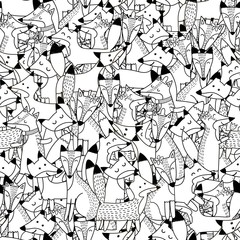 Doodle foxes seamless pattern