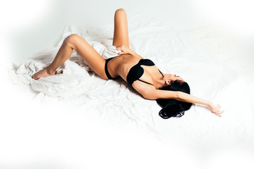 sexy girl in lingerie in bed