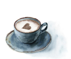 Watercolor cup of cappuccino with cinnamon heart decor. Food illustration with blue cup of coffee on white background. Hand painted print for design or print.