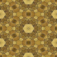 mosaic kaleidoscope seamless pattern texture background gold beige colored with black grout