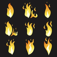 Set of animation fire and illustration  various . Cartoon  flat style. Explosion  frames. Vector . Black background.