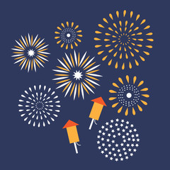 Flat design fireworks EPS10 vector royalty free stock illustration for greeting card, ad, promotion, poster, flier, blog, article, ad, marketing, retail shop, brochure, signage