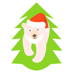 young polar bear vector illustration style Flat