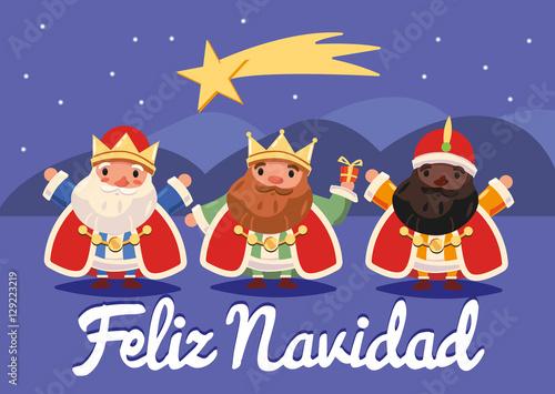 Felicitaciones De Navidad Con Los Reyes Magos.Felicitacion Navidena De Los Tres Reyes Magos Stock Image