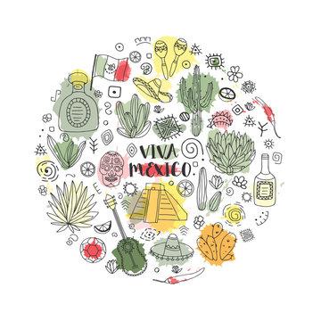 Doodles circle set of Mexico. Vector