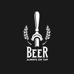 Beer always on tap advertising. Vector vintage illustration.