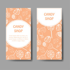 Vector template for business card with hand drawn candy sweets. Food shop poster. Brochure with lollipop, gum, nicy