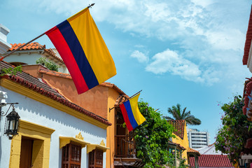 Colombian Flags in Cartagena