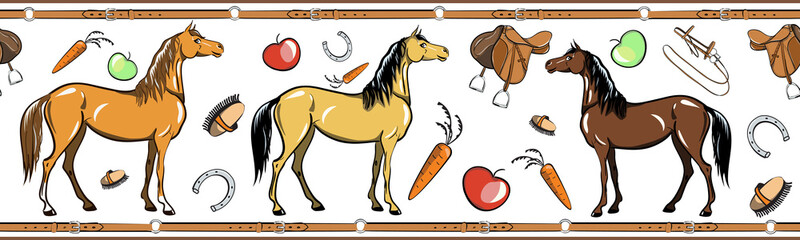 Horse and horseback riding tack tool seamless border. Equine sport in the leather belt frame. Cartoon Saddle, brush, bridle, stirrups, horseshoe. Hand drawing vector background