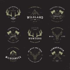 wildlife hunters logo set invert