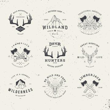 wildlife hunters logo set