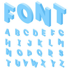 alphabet Isometric design. 3d letters isolated vector illustration. English alphabet. A set of letters in the isometric style.