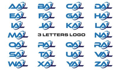 3 letters modern generic swoosh logo AAL, BAL, CAL, DAL, EAL, FAL, GAL, HAL, IAL, JAL, KAL, LAL, MAL, NAL, OAL, PAL, QAL, RAL, SAL,TAL, UAL, VAL, WAL, XAL, YAL, ZAL