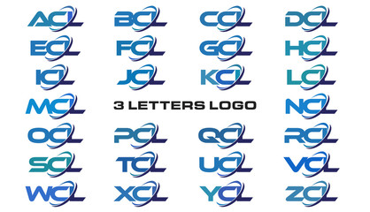 3 letters modern generic swoosh logo ACL, BCL, CCL, DCL, ECL, FCL, GCL, HCL, ICL, JCL, KCL, LCL, MCL, NCL, OCL, PCL, QCL, RCL, SCL,TCL, UCL, VCL, WCL, XCL, YCL, ZCL