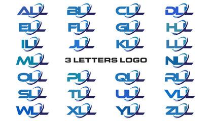3 letters modern generic swoosh logo ALL, BLL, CLL, DLL, ELL, FLL, GLL, HLL, ILL, JLL, KLL, LLL, MLL, NLL, OLL, PLL, QLL, RLL, SLL,TLL, ULL, VLL, WLL, XLL, YLL, ZLL
