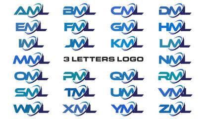 3 letters modern generic swoosh logo AML, BML, CML, DML, EML, FML, GML, HML, IML, JML, KML, LML, MML, NML, OML, PML, QML, RML, SML,TML, UML, VML, WML, XML, YML, ZML
